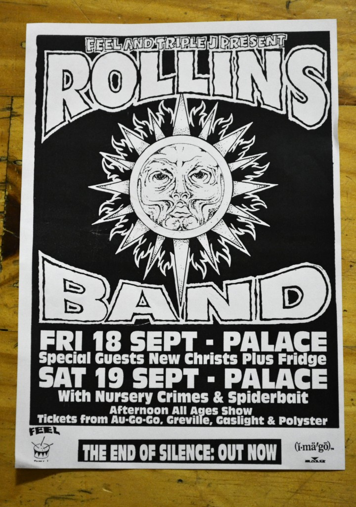 Flyer for the Rollins Band tour of Melbourne, Australia 1992