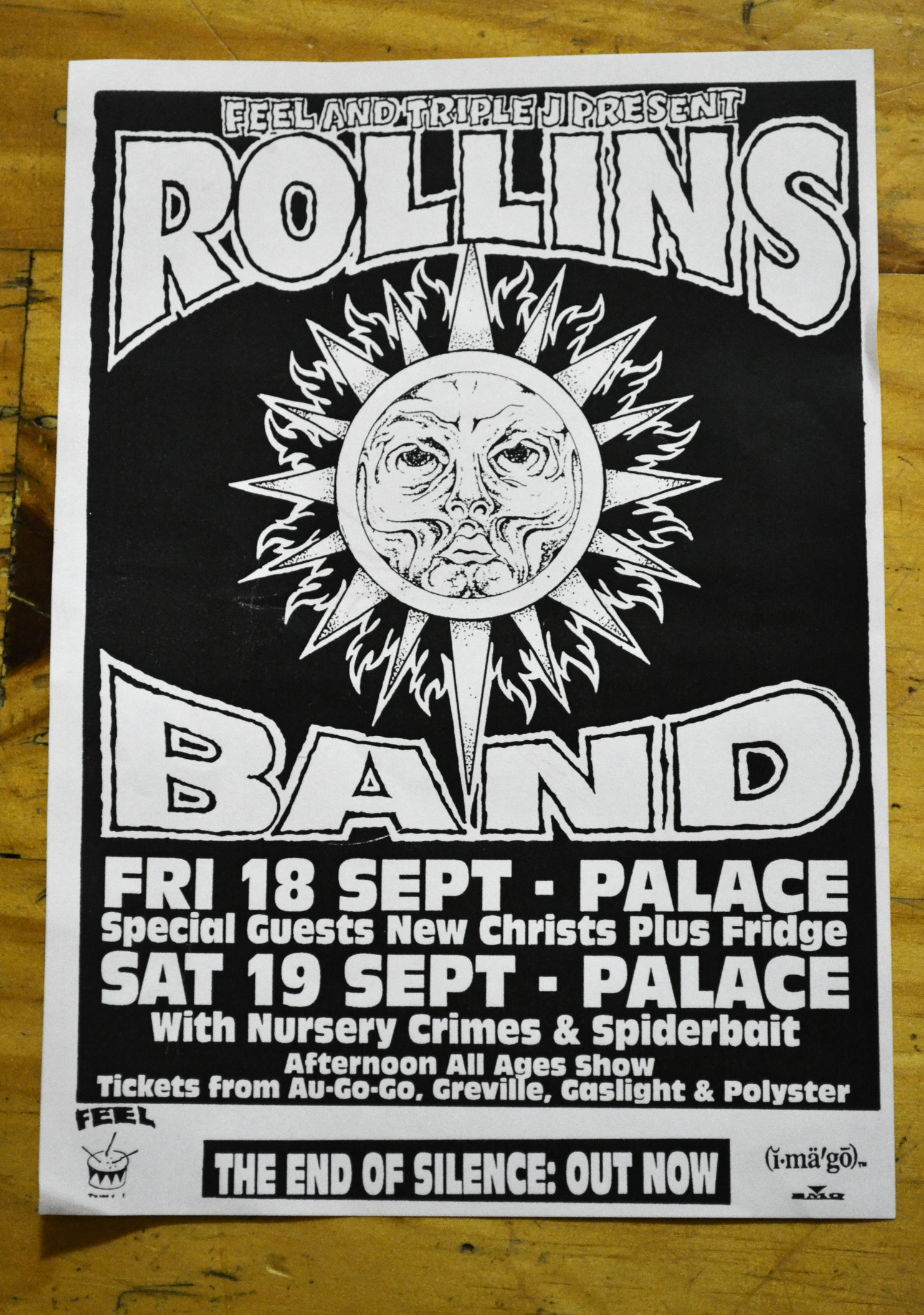 Flyer for the 1992 Rollins Band tour of Melbourne, Australia ...