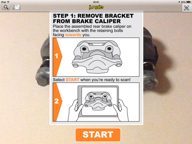 Step 1: Remove bracket from caliper