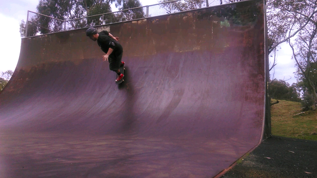 Fakies on the Vermont South vert ramp.