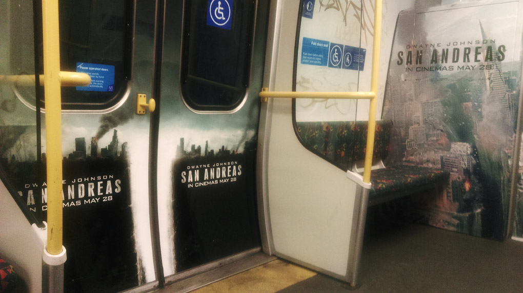 The interior advertising included a wrap on the end of the train and doors on each side of the train.